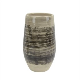 """Ceramic Vase 12"""", Black/beige"""