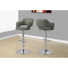 BARSTOOL - LIGHT GREY / CHROME METAL HYDRAULIC LIFT