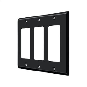 Switch Plate, Triple Rocker - Paint Black