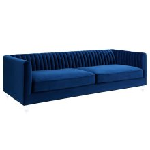 Aviator Blue Velvet Sofa