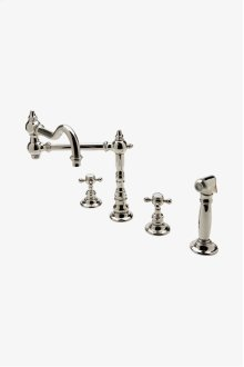 Julia Three Hole Articulated Kitchen Faucet, Metal Cross Handles and Spray STYLE: JUKM48