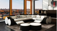 Divani Casa 3087 - Modern White and Black Bonded Leather Sectional Sofa & Coffee Table