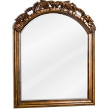 """26"""" x 32"""" Mirror with hand-carved details, beveled glass, and Walnut finish."""
