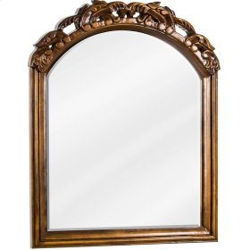 "26"" x 32"" Mirror with hand-carved details, beveled glass, and Walnut finish."