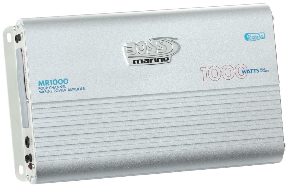 """1000W 4 Channel Full Range, Class A/B Amplifier Dimensions 12.72""""L 7.32""""W 2.25""""H"""