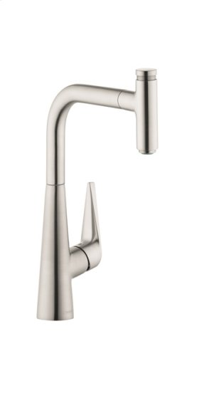 Steel Optic HighArc Kitchen Faucet, 1-Spray Pull-Out, 1.75 GPM