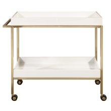 Brushed Gold & White Bar Cart