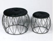 2pc Set Stools-silver Finish-blk Fabric-su Product Image