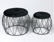 2pc Set Stools-silver Finish-blk Fabric-su