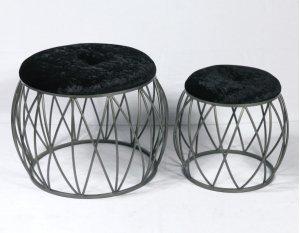 2pc Set Stools-silver Finish-blk Fabric-su
