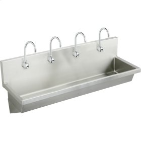 "Elkay Stainless Steel 96"" x 20"" x 8"", Wall Hung Multiple Station Hand Wash Sink Kit"