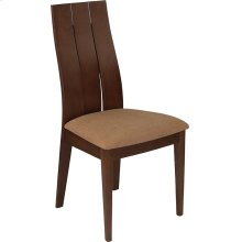 Hadley Walnut Finish Wood Dining Chair with Wide Slat Back and Brown Fabric Seat