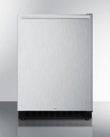 Built-in Undercounter ADA Compliant All-refrigerator With Wrapped Stainless Steel Exterior, Horizontal Handle, Door Storage, and Digital Controls