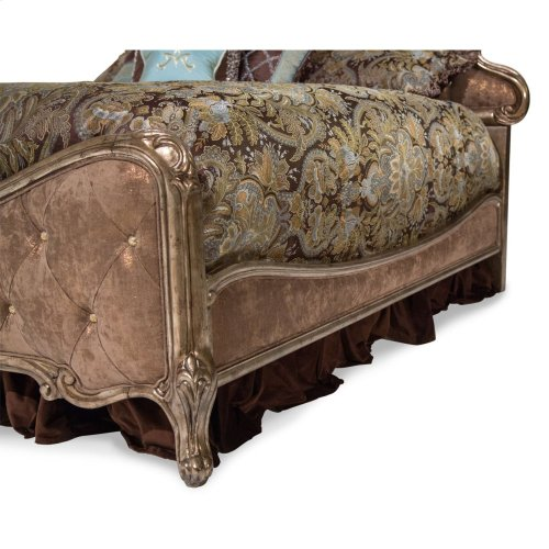 King Panel Bed W/brown Fabric