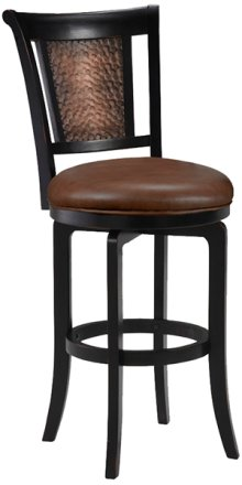 Cecily Swivel Counter Stool - Completely Kd Base - Black Wood Frame/blk Copper Inset Back Panel