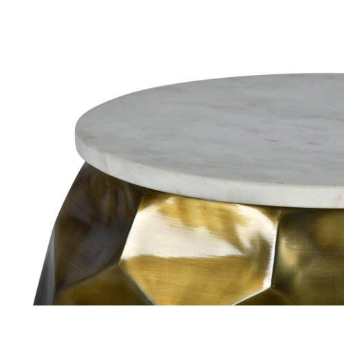 """Stomp Round End Table w/ 0.5"""" Marble Top 20"""" x 20"""" x 21"""""""