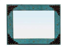 27.5 X 35 Turq Scraped Mirror