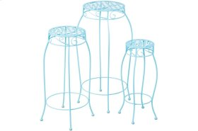 Martini Accents Round Plant Stands - Sky Blue