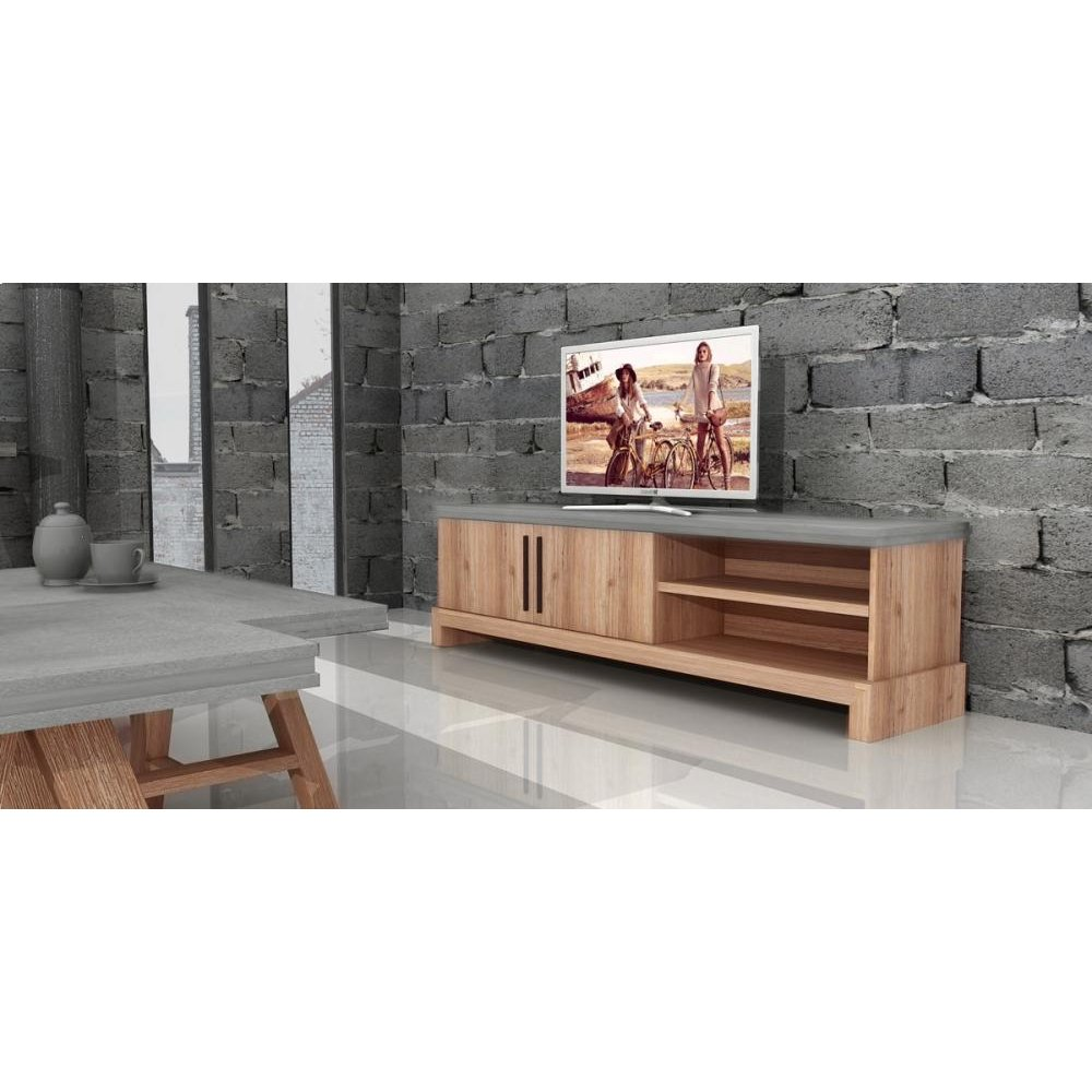 Modrest Civic Modern Concrete & Acacia TV Stand