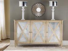 Mirrored Three Door Cabinet, Weathered Oak