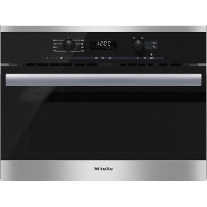MieleM 6260 TC Built-in microwave oven with controls along the top for optimal combination possibilities.