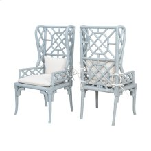 Bamboo Wing Back Chairs In Manor Slate - Set of 2