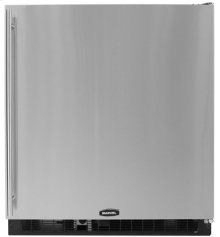 """30"""" Marvel Refrigerator / Freezer, Right Hinge, Black Cabinet, STAINLESS full wrap door and bar handle"""