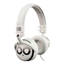 White and Chrome over-the-head headphones by Bell'O Digital