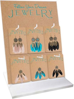 14 pc. assortment. Dreamcatcher Earrings & Necklace w/ Counter Display