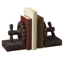 Rusted Gear Bookend Pair.