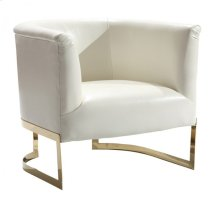 Elite Contemporary Accent Chair In White and Gold Finish