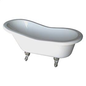 "Fillmore Double Acrylic Slipper Tub - 60"" White - Polished Chrome"