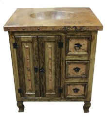"36"" Copper Vanity W/Drawers"