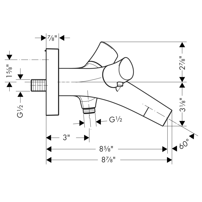 Additional Chrome Thermostatic Wall-Mounted Tub Filler