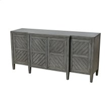 Half Moon Bay Reclaimed Grey MDF with Solid Wood Veneer 4-Door Credenza