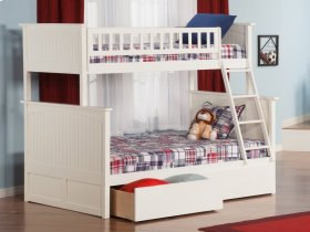 Nantucket Bunk Bed Twin over Full with Urban Bed Drawers in White