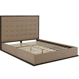 Madeline Queen Upholstered Fabric Bed Frame in Cappuccino Cafe