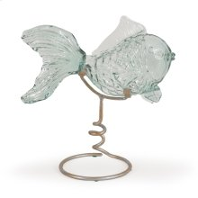 Recycled Glass Gold Fish on Metal Stand