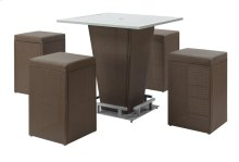 Emerald Home South Beach 5 Piece Set Bar Table W/4 Barstools Brown Od1400b 16-40