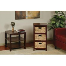 Seabrook Three-tier Storage Unit With Espresso Finish and Natural Baskets