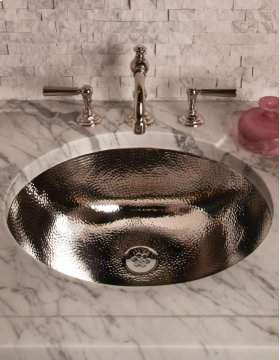 Vintage Console Undermount Oval Sink / Polished Stainless Steel