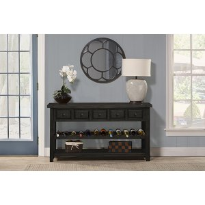 Tuscan Retreat® Wine Rack Hall Table With 5 Drawers - Weathered Gray
