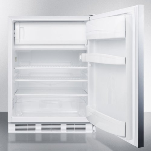 ADA Compliant Freestanding Refrigerator-freezer for Residential Use, Cycle Defrost With Deluxe Interior, Ss Wrapped Door, Horizontal Handle, and White Cabinet