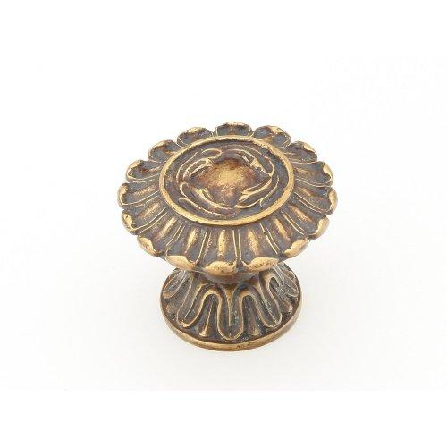 "Solid Brass, Symphony, Swans, Round Knob, 1-1/2"" diameter, Monticello Brass finish"