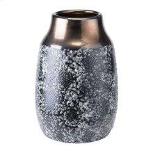Stoneware Metal Vase Lg Metal & Blk Ash