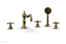 HENRI Deck Tub Set with Hand Shower with Cross Handles 161-48 - Antique Brass