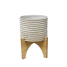 "Ceramic 10.25"" Planter On Stand, Brown"