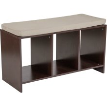 Prospect Hill Espresso Wood Finish Storage Bench with Cushion