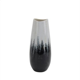 "Ceramic Vase 14"", Gray/white"