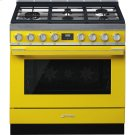 "Portofino Pro-Style Dual Fuel Range, Yellow, 36"" x 25"" Product Image"